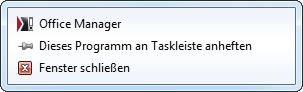 Screenshot des Taskleistenmenüs