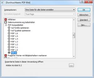Omnipage-Einstellungen für PDF