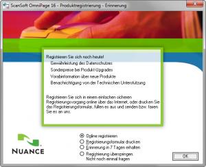 ScanSoft OmniPage 16 - Produktregistrierung - Erinnerung
