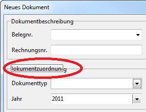 """Designfehler des Schalters """"Dokumentzuordnung"""""""