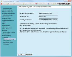 Integriertes System des Scanners aktualisiert