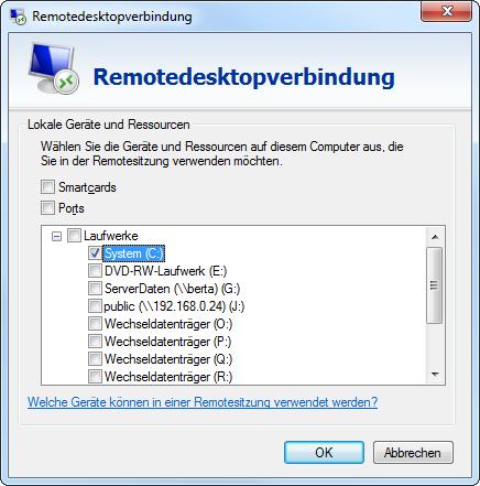 Remotedesktopverbindung, lokale Geräte