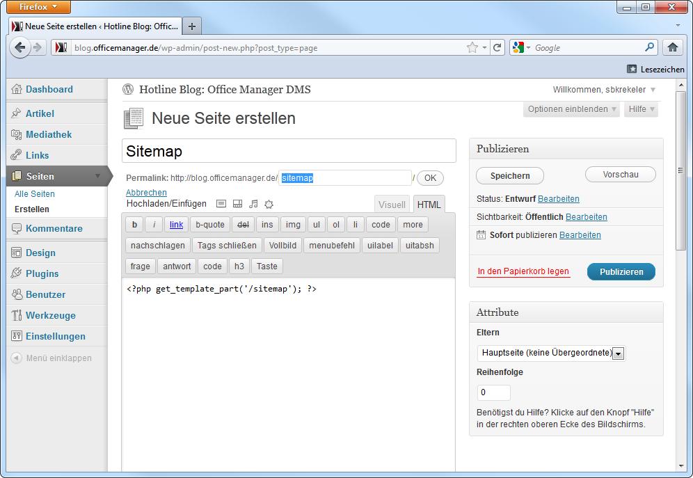 » HTML-Sitemap Für WordPress-Blogs
