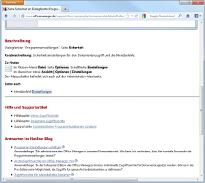 Browser-Screenshot von www.officemanager.de/support/dms-menue.php