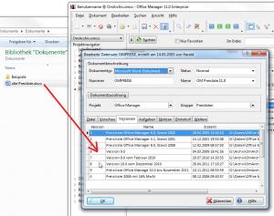Screenshot: Office Manager DnD mit Versionen