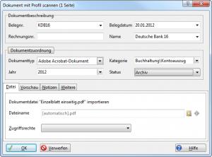 Screenshot des Eigenschaftendialogs