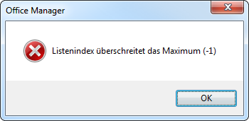 Listenindex überschreitet das Maximum (-1)