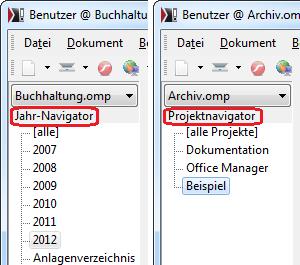 Screenshot Jahr- oder Projektnavigator