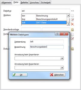 """Screenshot """"Weitere Dateiendungen"""""""