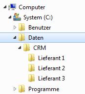 Screenshot des Explorers mit CRM-Pfad