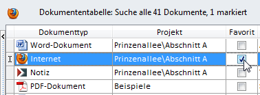 Screenshot der Tabelle