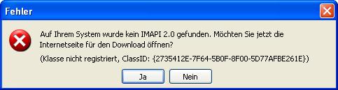 IMAPI-Fehlermeldung