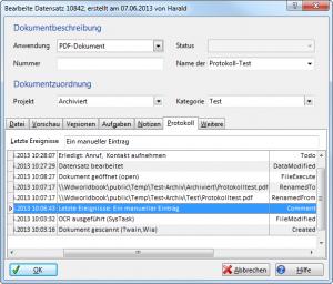 Eigenschaftendialog - Protokoll