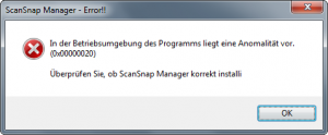 ScanSnap Manager Error