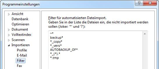 Dialogfenster Importfilter