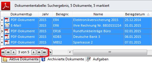 Screenshot mit allen markierten Datensätzen