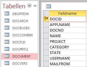 Screenshot Entwurfsansicht mit Primärschlüssel