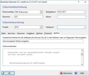 Screenshot Eigenschaftenfenster