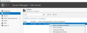 Screenshot vom Server-Manager
