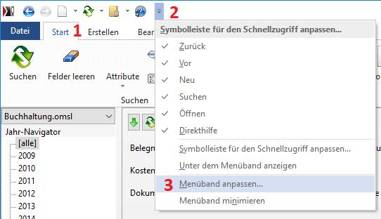 Screenshot Menü anpassen